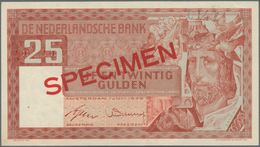"Netherlands / Niederlande: 25 Gulden 1949 SPECIMEN, P.84s, Red Overprint ""Specimen"", Specimen Number - Netherlands"