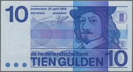 """Netherlands / Niederlande: 10 Gulden 1968 With """"O"""" In Bullseye At Upper Left On Back, P.91a In Perfe - Netherlands"""