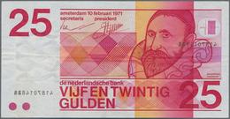 Netherlands / Niederlande: 25 Gulden 1971 P.92 ERROR Note With Wet Ink Transfer Of The Serial Number - Netherlands