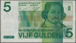 Netherlands / Niederlande: 5 Gulden 1973 P.95 ERROR Note With Shifted Reverse, Handling Traces From - Netherlands