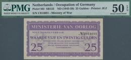 Netherlands / Niederlande: Ministerie Van Oorlog 25 Gulden ND(1945-59), P.M3, Tiny Dint At Upper Rig - Paises Bajos