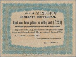 Netherlands / Niederlande: Set With 3 Pcs. Notgeld Netherlands WW I, City Of Rotterdam With 1 Gulden - Netherlands