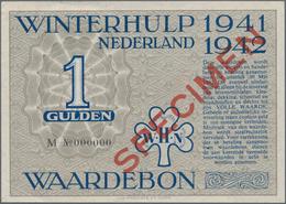 Netherlands / Niederlande: Waardebon 0,50 And 1 Gulden WINTERHULP 1941-1942 SPECIMEN With Black Seri - Netherlands