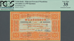 Netherlands / Niederlande: Waardebon – Ship Money 10 Gulden 1949 SPECIMEN With Vertical Perforation - Netherlands