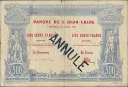 New Caledonia / Neu Kaledonien: Banque De L'Indo-Chine - Noumea, 500 Francs 1921, P.22 With Black St - Nouméa (Nuova Caledonia 1873-1985)