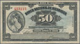 Nicaragua: Banco Nacional De Nicaragua Pair With 50 Centavos 1938 P.89 (F+) And 5 Cordobas 1942 P.93 - Nicaragua