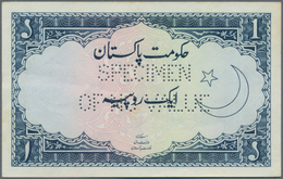 "Pakistan: 1 Rupee ND(1953-61) Specimen, P.9s With Perforation ""Specimen Of No Value"" In Perfect UNC - Pakistan"