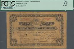 Philippines / Philippinen: Banco Español Filipino 5 Pesos June 1st 1896, P.A7a, Extraordinary Rare B - Filipinas