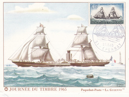 """Paquebot-Poste """" LA GUIENNE """" - Journée Du Timbre 1965 EPERNAY (51 Marne) 2 Scans - Passagiersschepen"""
