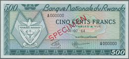 Rwanda / Ruanda: Banque Nationale Du Rwanda 500 Francs 1964 SPECIMEN, P.9s In Perfect UNC Condition. - Rwanda