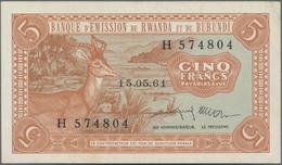 Rwanda-Burundi / Ruanda-Burundi: Banque D'Émission Du Rwanda Et Du Burundi 5 Francs 1961, P.1, Very - Ruanda-Urundi