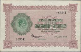 Seychelles / Seychellen: The Government Of The Seychelles 5 Rupees 1942, P.8, Always A Popular Note - Seychellen