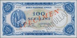 """Somalia: Banca Nazionale Somala 100 Scellini 1962 SPECIMEN, P.4s, Red Overprint """"Specimen"""" And Perfo - Somalia"""
