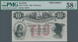 "Sweden / Schweden: Christinehamns Enskilda Bank 10 Kroner 1884 SPECIMEN, P.S149s With Perforation ""S - Suecia"