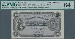 "Sweden / Schweden: Helsinglands Enskilda Bank 10 Kronor 1879 SPECIMEN, P.S265s With Perforation ""Spe - Suecia"