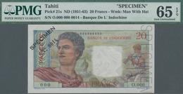 "Tahiti: Banque De L'Indochine – Papeete 20 Francs ND(1951-63) SPECIMEN, P.21s With Perforation ""Spec - Andere - Oceanië"