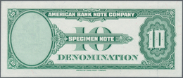 Testbanknoten:  American Banknote Company 10 Dollars 1929 SPECIMEN Intaglio Printed Test Note In UNC - Specimen