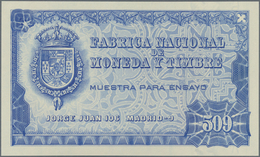 """Testbanknoten: Fabricia Nacional De Moneda Y Timbre Uniface Intaglio Printed Test Note """"509"""" In Blue - Specimen"""