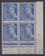 MERCURE N° 407 - Bloc De 4 COIN DATE - NEUF SANS CHARNIERE - 22-2-40 - 1930-1939