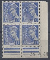 MERCURE N° 407 - Bloc De 4 COIN DATE - NEUF SANS CHARNIERE - 25-4-40 - 1930-1939