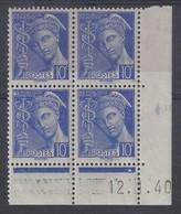 MERCURE N° 407 - Bloc De 4 COIN DATE - NEUF SANS CHARNIERE - 12-1-40 - 1930-1939