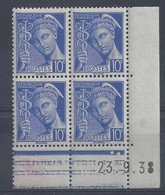 MERCURE N° 407 - Bloc De 4 COIN DATE - NEUF SANS CHARNIERE - 23-9-38 - 1930-1939