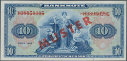 Deutschland - Bank Deutscher Länder + Bundesrepublik Deutschland: 10 DM 1948 MUSTER Mit Rotem Überdr - [ 7] 1949-… : RFA - Rep. Fed. De Alemania