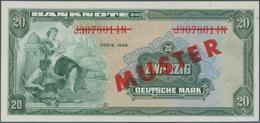 Deutschland - Bank Deutscher Länder + Bundesrepublik Deutschland: 20 DM 1948 MUSTER Mit Rotem Überdr - [ 7] 1949-… : RFA - Rep. Fed. De Alemania