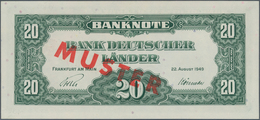 Deutschland - Bank Deutscher Länder + Bundesrepublik Deutschland: 20 DM 1949 MUSTER Mit Rotem Überdr - [ 7] 1949-… : RFA - Rep. Fed. De Alemania
