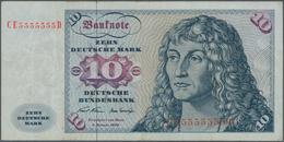 Deutschland - Bank Deutscher Länder + Bundesrepublik Deutschland: 10 DM 1970, Ro.270b Mit KN CE55555 - [ 7] 1949-… : RFA - Rep. Fed. De Alemania