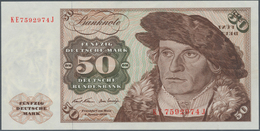 Deutschland - Bank Deutscher Länder + Bundesrepublik Deutschland: 50 DM 1970, Ro.272b Fehldruck, Tei - [ 7] 1949-… : RFA - Rep. Fed. De Alemania