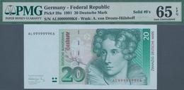 Deutschland - Bank Deutscher Länder + Bundesrepublik Deutschland: 20 DM 1991 Mit Seriennummer AL9999 - [ 7] 1949-… : RFA - Rep. Fed. De Alemania
