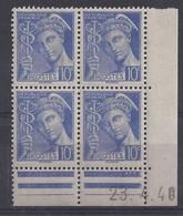 MERCURE N° 407 - Bloc De 4 COIN DATE - NEUF SANS CHARNIERE - 23-4-40 - 1930-1939