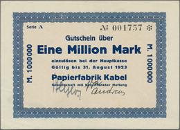 Deutschland - Notgeld - Westfalen: Kabel (Hagen-), Papierfabrik, Mengenbestand Von über 200 Scheinen - Deutschland