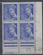 MERCURE N° 407 - Bloc De 4 COIN DATE - NEUF SANS CHARNIERE - 28-2-40 - 1930-1939