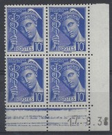 MERCURE N° 407 - Bloc De 4 COIN DATE - NEUF SANS CHARNIERE - 17-8-38 - 1930-1939