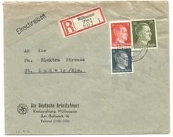 Sk1012 - MULHAUSEN - 1943 - Tarif Lettre Recommandé 42 Pfg - MULHOUSE - Entête Deutsche ARBEITSFRONT - - Alsace Lorraine