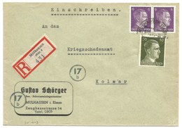 Sk1013 - MULHAUSEN ELS 4 - 1944 - Tarif Lettre Recommandé 42 Pfg - MULHOUSE - Entête GUSTAV SCHÖRGER  - - Alsace Lorraine