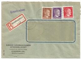 Sk1017 - STRASSBURG ELS 4 = STRASBOURG QUAI DE PARIS - 1944 - Tarif Lettre Recommandé 42 Pfg -Entête SINGER NÄHMASCHINEN - Alsace Lorraine