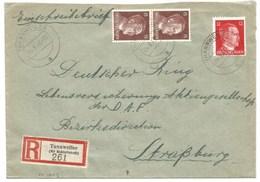 Sk1023 - TANNWEILER - 1943 - Tarif Lettre Recommandé 42 Pfg - THANVILLE - - Alsace Lorraine