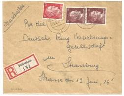 Sk1024 - BALDENHEIM - 1942 - Tarif Lettre Recommandé 42 Pfg - - Alsace Lorraine