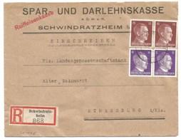 Sk1025 - SCHWINDRATZHEIM - 1944 - Tarif Lettre Recommandé 42 Pfg - Entête SPAR UND DARLEHNSKASSE - - Alsace Lorraine
