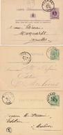 DDX 182 -  5 X Entier Postal TOURNAI 1878/1891 - Tous Repiquages Différents De La Maison Casterman (Editeurs De TINTIN) - Enteros Postales