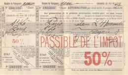 Billet De Chemin De Fer De L'Etat Pour Une Demi-place De St. Lô à Paris Et Retour. (complet) - Treni