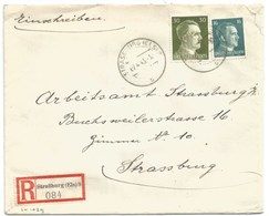 Sk1029 - STRASSBURG ELS 8 = STRASBOURG BOURSE - 1943 - Tarif Lettre Double Port Local Recommandé 46 Pfg - - Alsace Lorraine