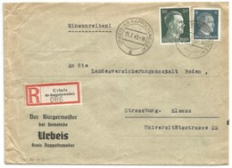 Sk1030 - URBEIS (KR RAPPOLTSWEILER)- 1943 - Tarif Lettre Double Port Recommandé 54 Pfg - ORBEY - Entête MAIRIE - - Alsace Lorraine