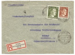 Sk1032 - URBEIS (KR RAPPOLTSWEILER)- 1942 - Tarif Lettre Double Port Recommandé 54 Pfg - ORBEY - - Marcophilie (Lettres)