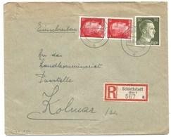 Sk1034 - SCHLETTSTADT - 1943 - Tarif Lettre Double Port Recommandé 54 Pfg - SELESTAT - - Alsace Lorraine