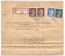 Sk1035 - LAUTENBACH - 1942 - Tarif Lettre Double Port Recommandé 54 Pfg - - Marcophilie (Lettres)