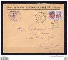 Am3274 Convoyeur Amiens A HAM R TypeIII / Cocq 0.25 Amiens 0.05  Lettre Mairie Chaulnes  (80) 0/04/1965 - Marcophilie (Lettres)